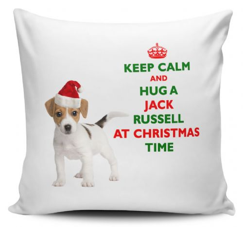 Christmas Keep Calm And Hug A Jack Russell Novelty Cushion Cover